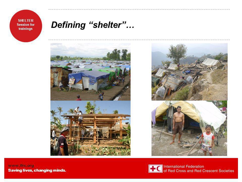 Defining shelter …