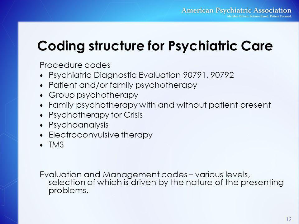 Coding structure for Psychiatric Care