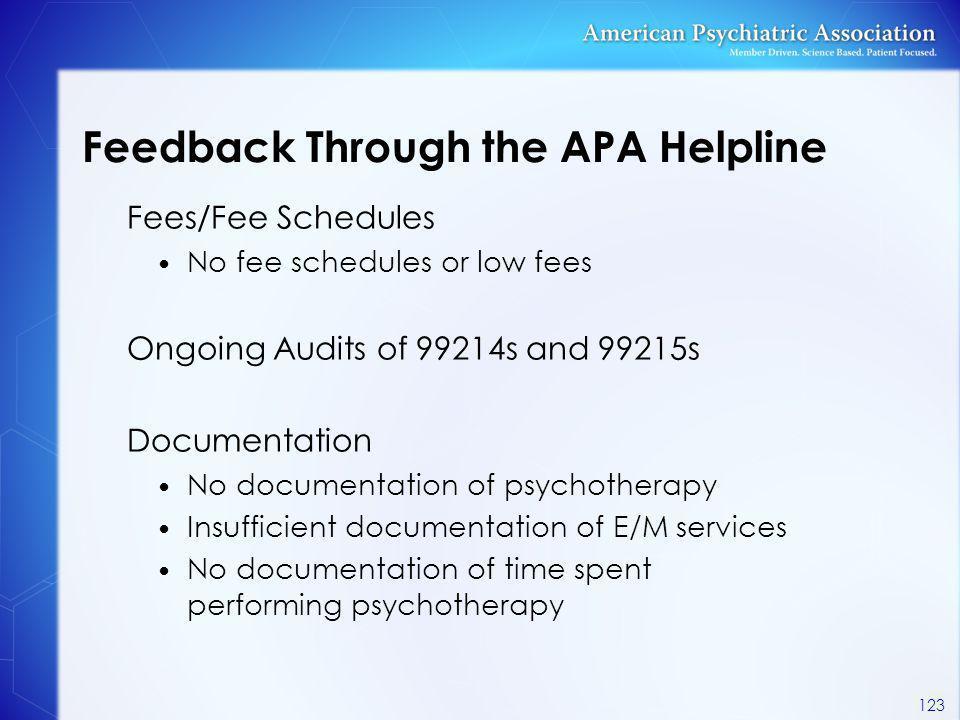 Feedback Through the APA Helpline
