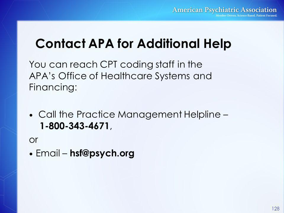 Contact APA for Additional Help