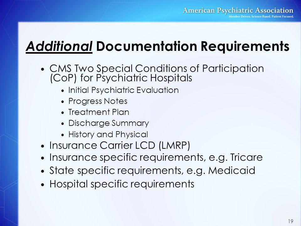 Additional Documentation Requirements