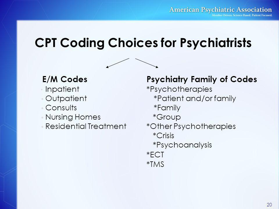 CPT Coding Choices for Psychiatrists