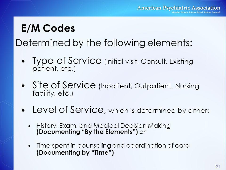E/M Codes Determined by the following elements: