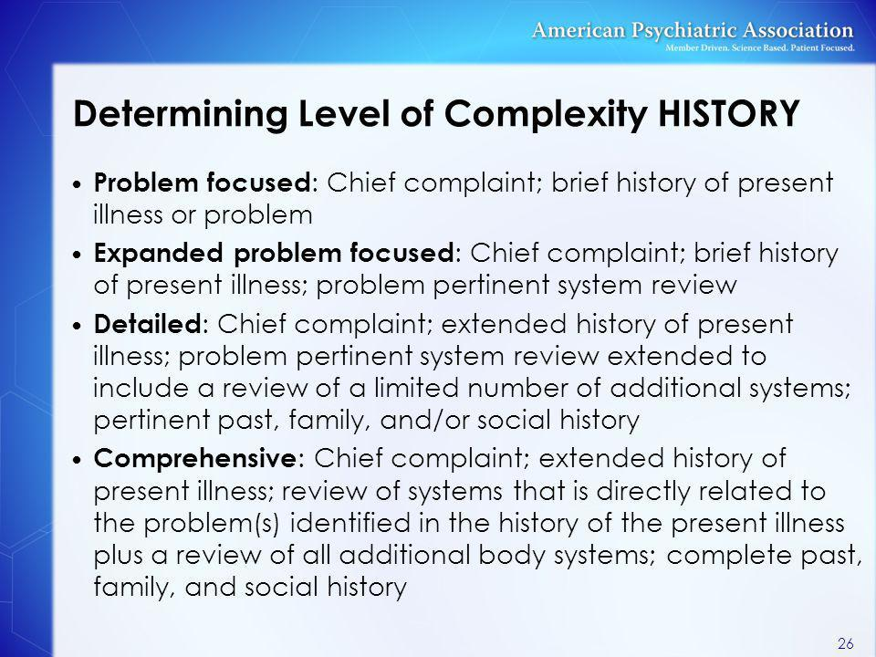 Determining Level of Complexity HISTORY