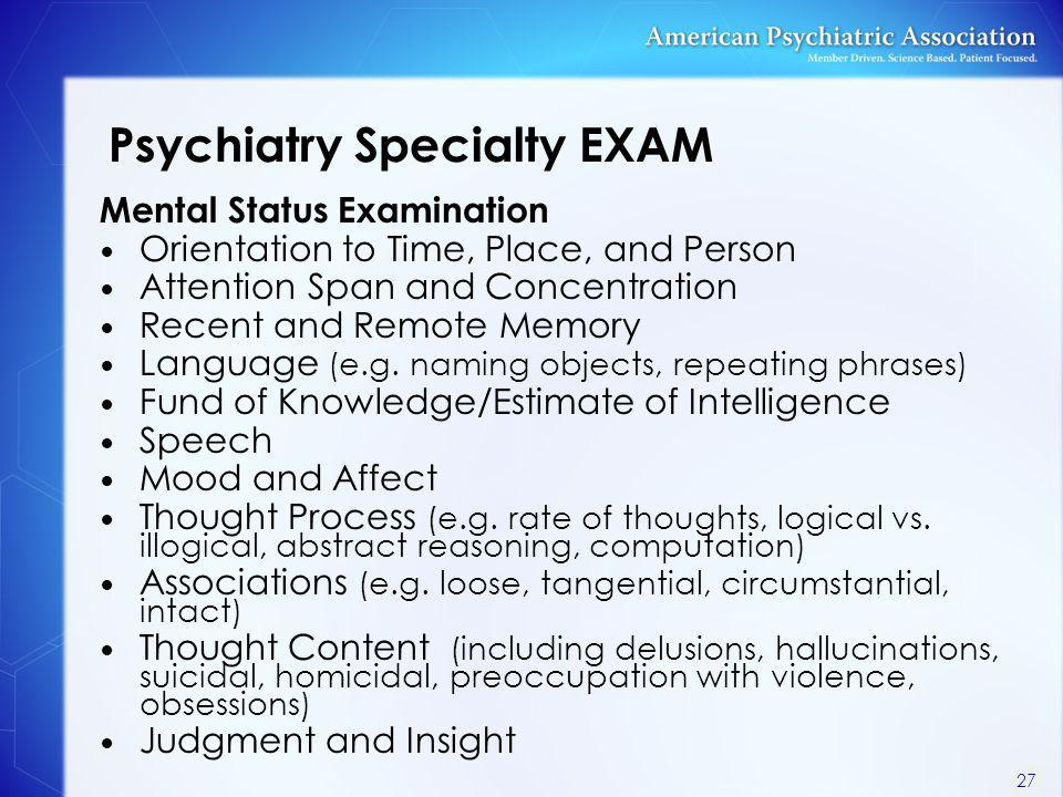 Psychiatry Specialty EXAM