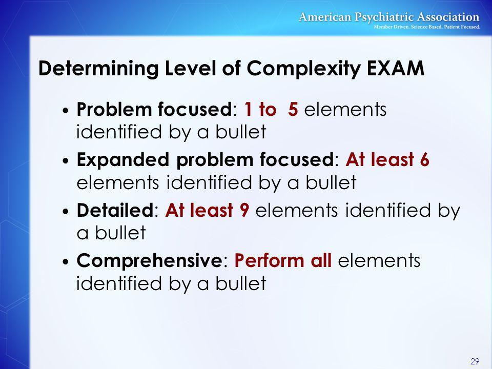 Determining Level of Complexity EXAM