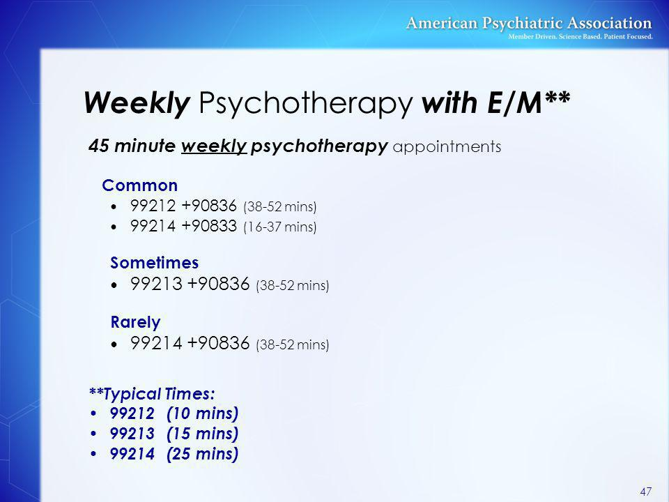 Weekly Psychotherapy with E/M**