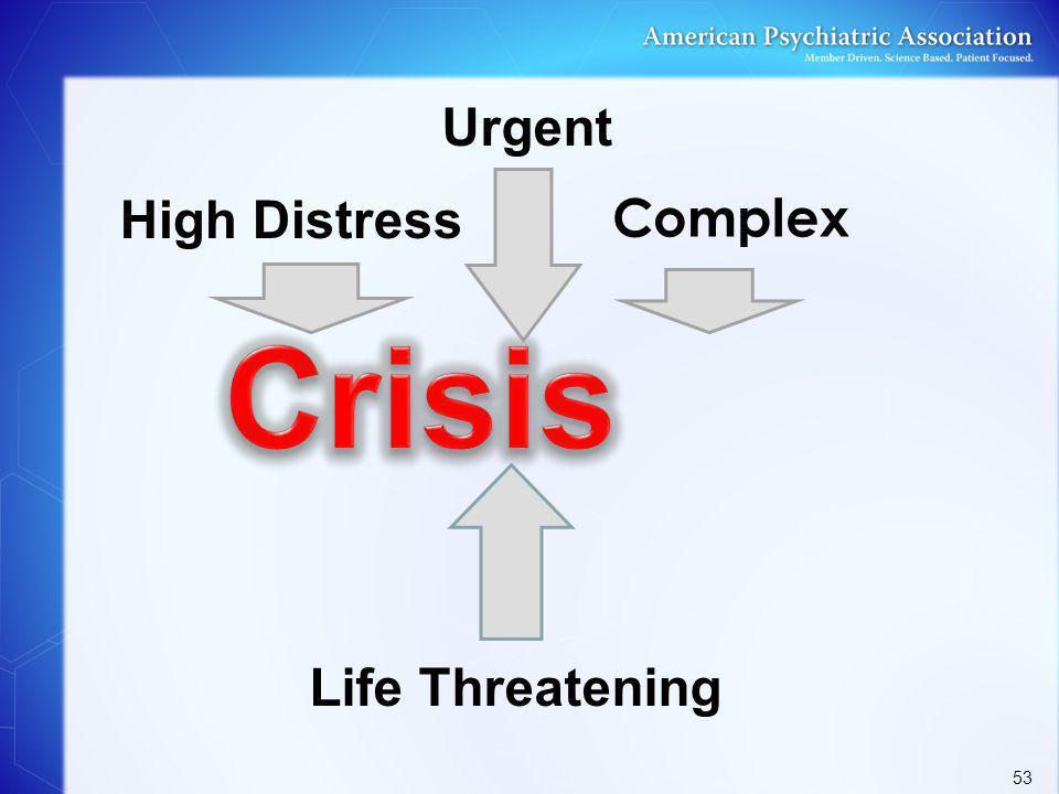 Crisis Urgent High Distress Complex Life Threatening