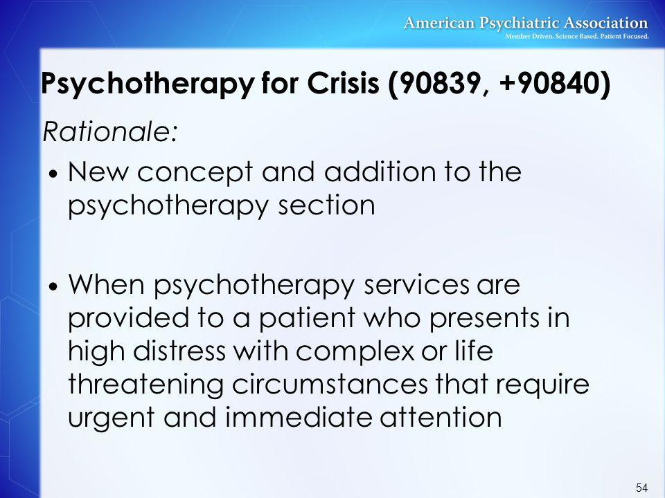 Psychotherapy for Crisis (90839, +90840)