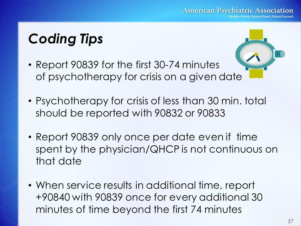 Coding Tips Report 90839 for the first 30-74 minutes