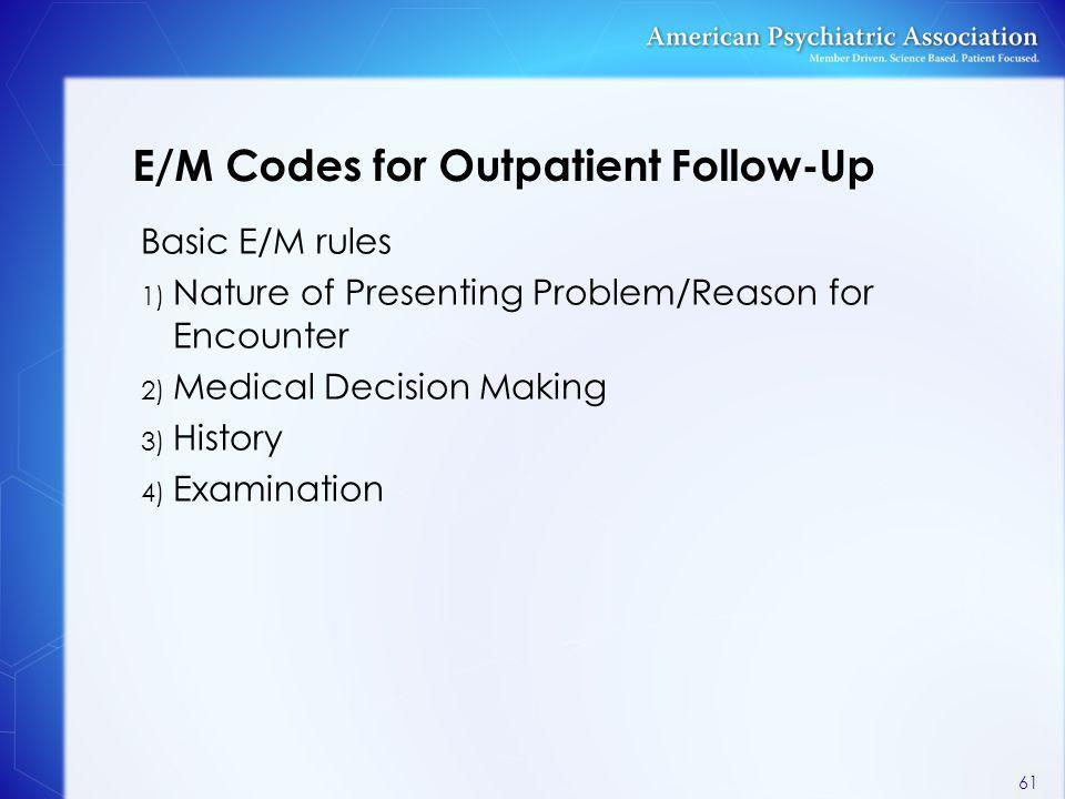 E/M Codes for Outpatient Follow-Up