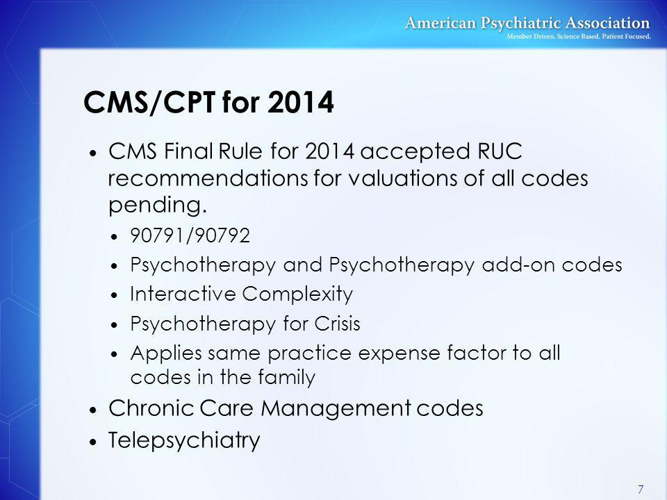 CMS/CPT for 2014 CMS Final Rule for 2014 accepted RUC recommendations for valuations of all codes pending.