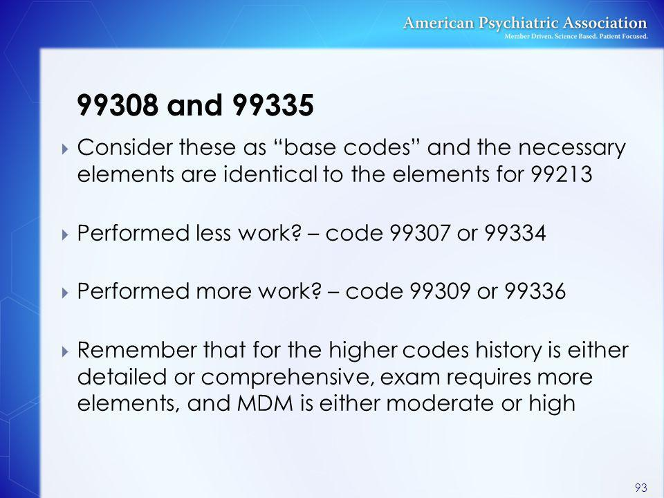 99308 and 99335 Consider these as base codes and the necessary elements are identical to the elements for 99213.
