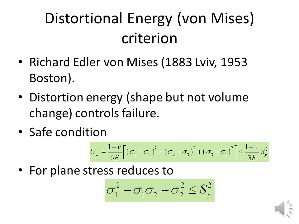 Distortional Energy (von Mises) criterion