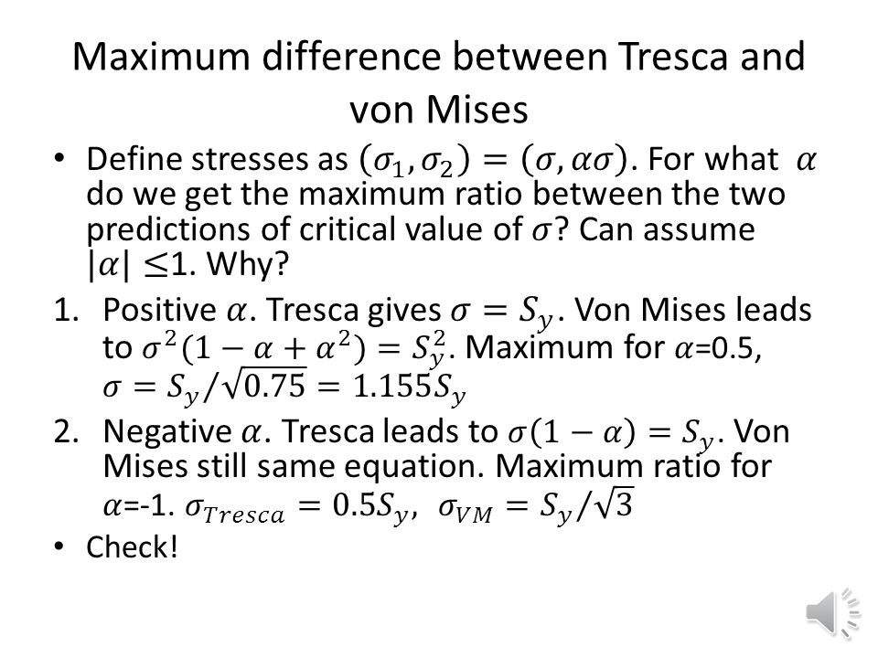 Maximum difference between Tresca and von Mises
