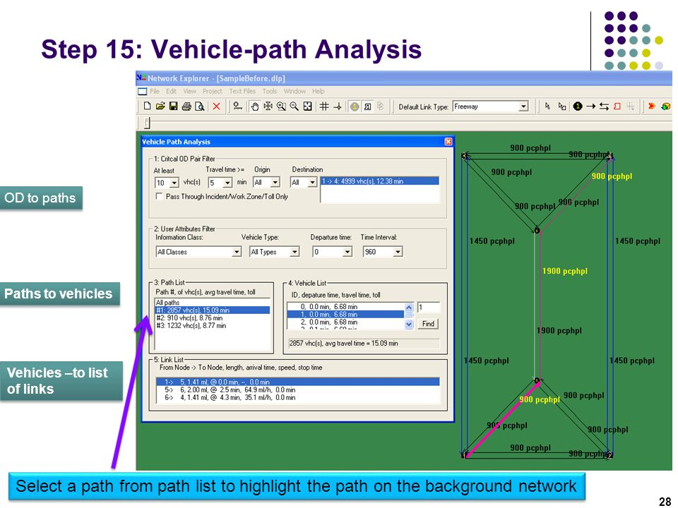 Step 15: Vehicle-path Analysis
