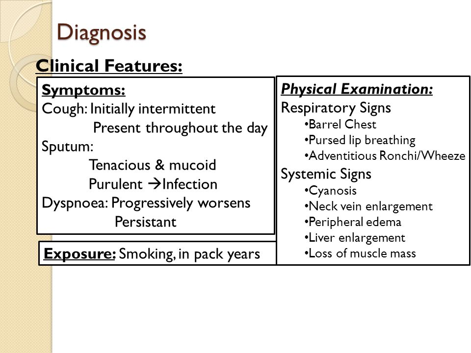 Diagnosis Clinical Features: Symptoms: Physical Examination: