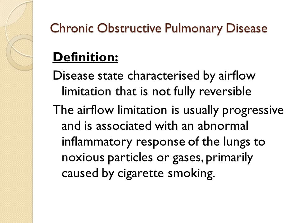 chronic obstructive pulmonary disease 3 essay More essay examples on health rubric chronic obstructive pulmonary disease (copd) is a disease of the lungs which is characterized by the narrowing of the airways.