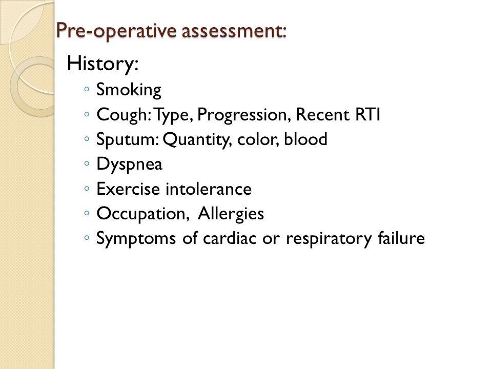 Pre-operative assessment:
