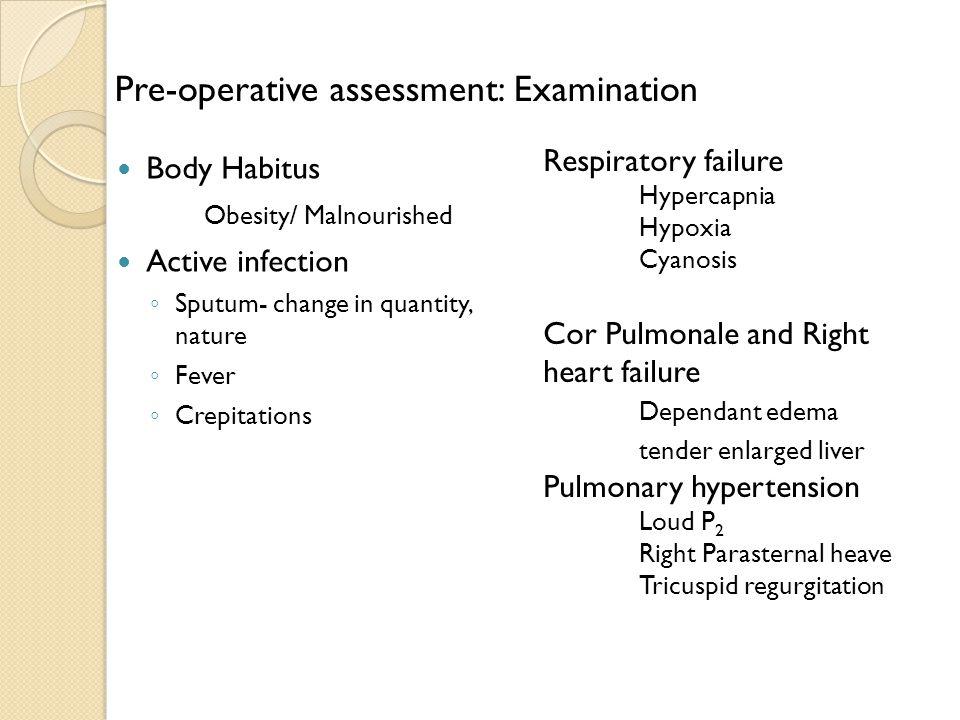 Pre-operative assessment: Examination
