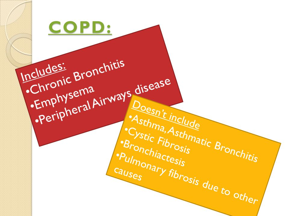 COPD: Chronic Bronchitis Includes: Peripheral Airways disease