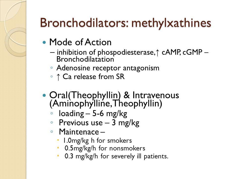 Bronchodilators: methylxathines