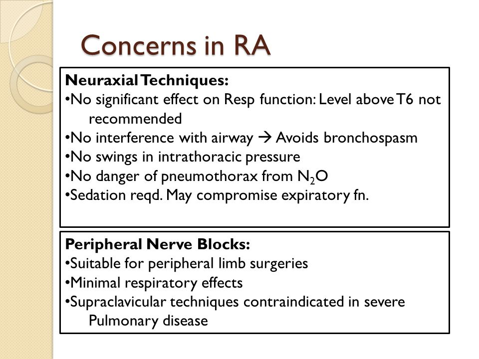 Concerns in RA Neuraxial Techniques: