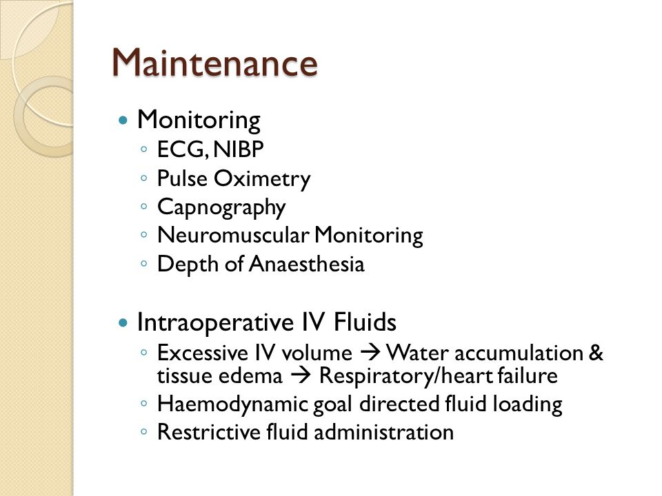 Maintenance Monitoring Intraoperative IV Fluids ECG, NIBP