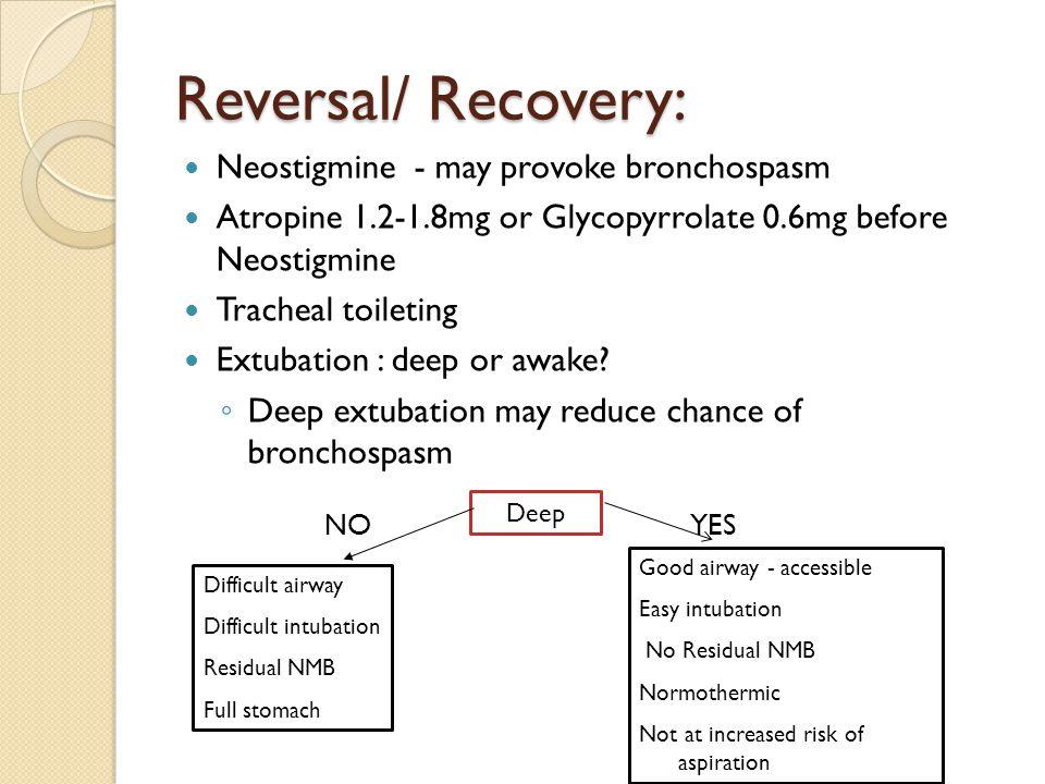 Reversal/ Recovery: Neostigmine - may provoke bronchospasm