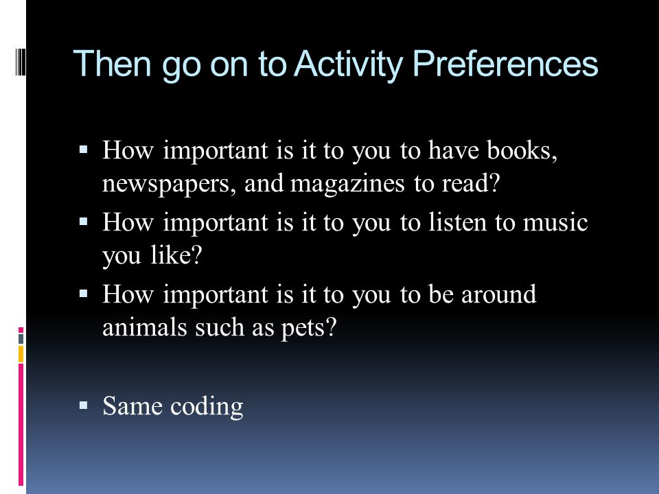 Then go on to Activity Preferences