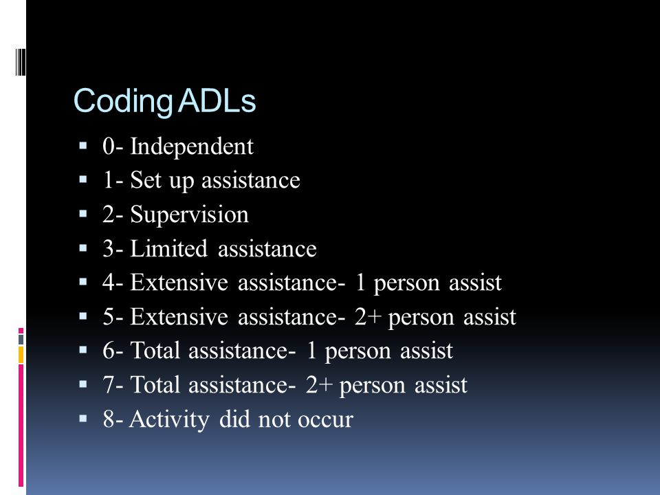 Coding ADLs 0- Independent 1- Set up assistance 2- Supervision