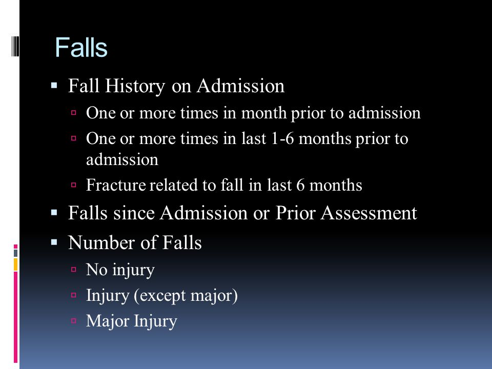 Falls Fall History on Admission