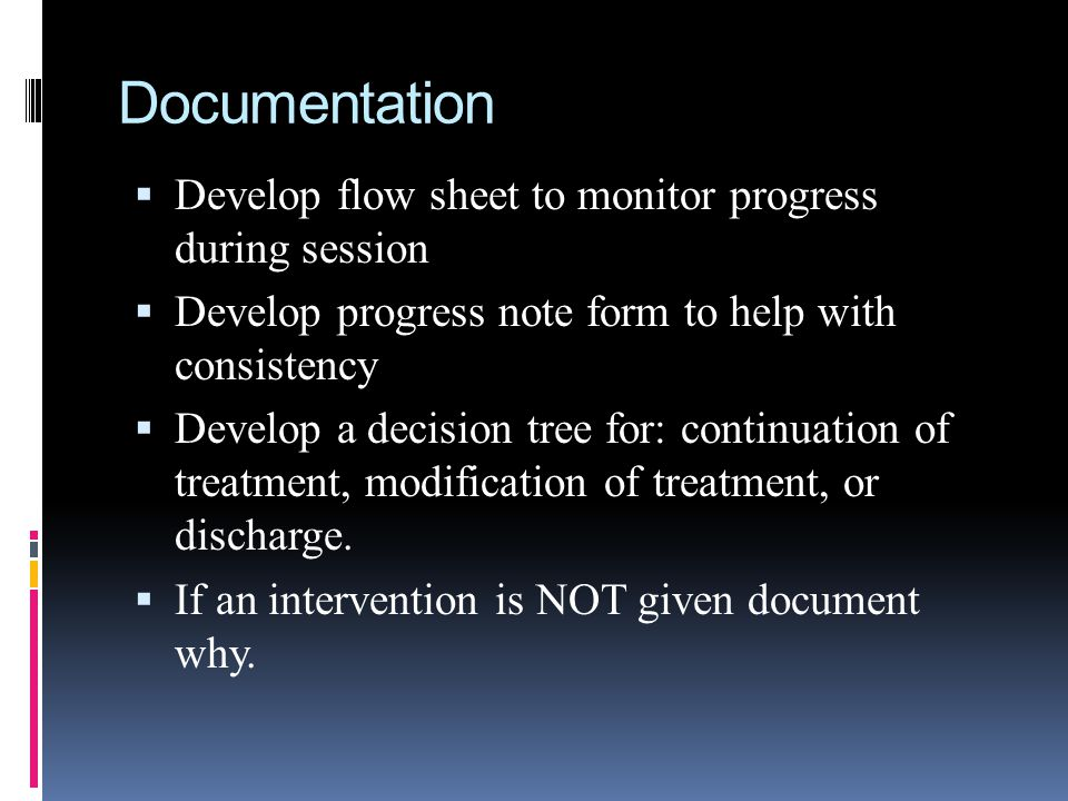 Documentation Develop flow sheet to monitor progress during session