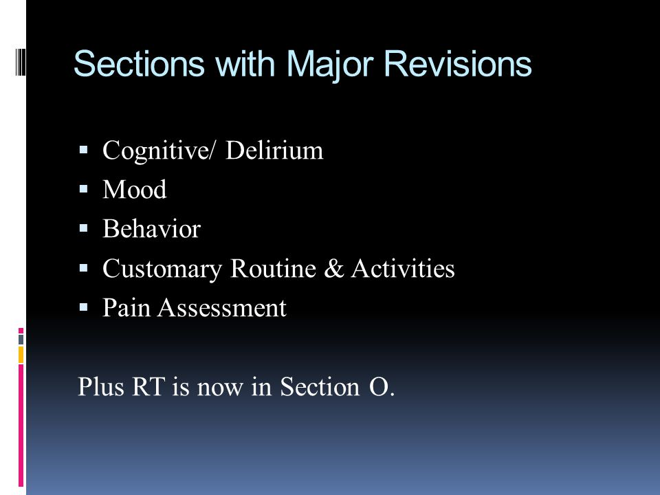 Sections with Major Revisions