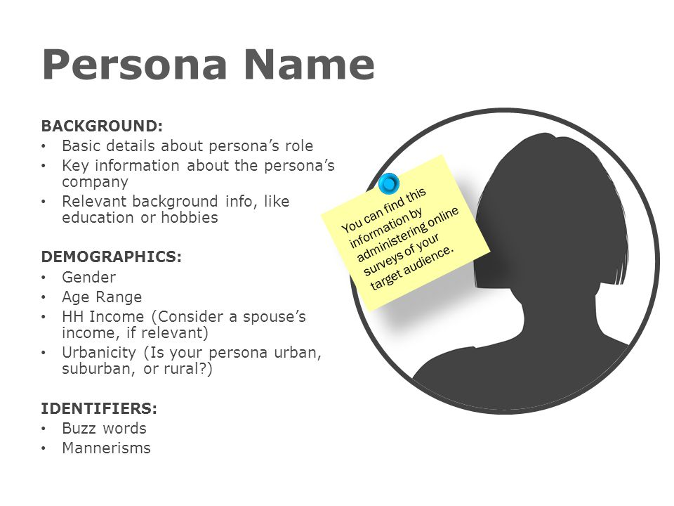 Persona Name BACKGROUND: Basic details about persona's role