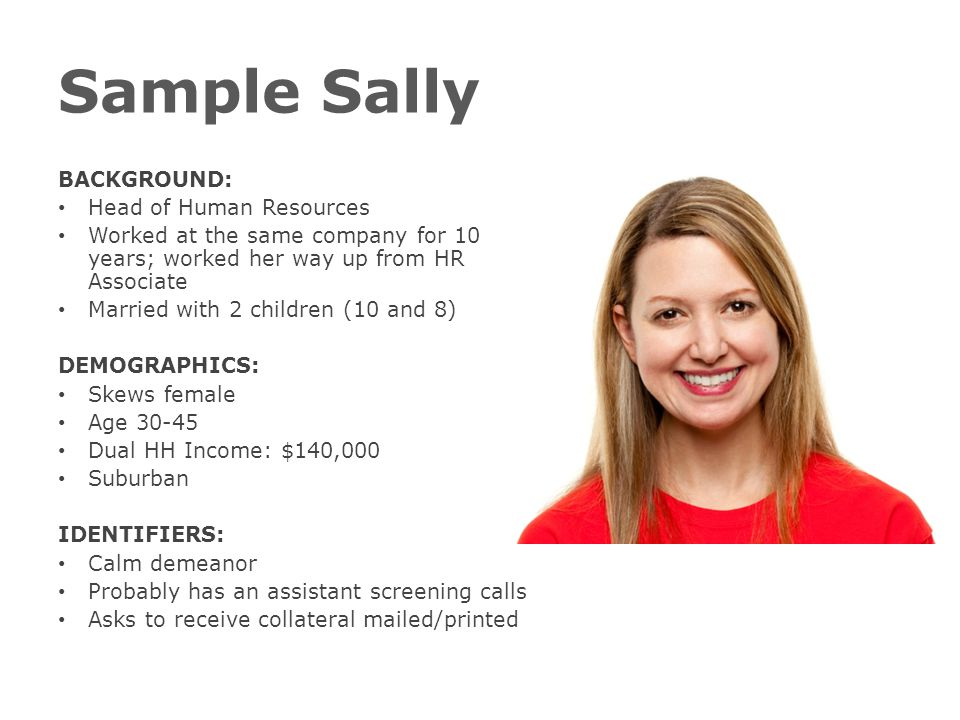 Sample Sally BACKGROUND: Head of Human Resources