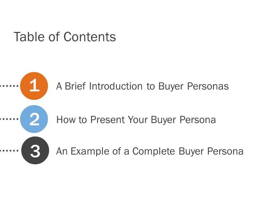 1 2 3 Table of Contents A Brief Introduction to Buyer Personas