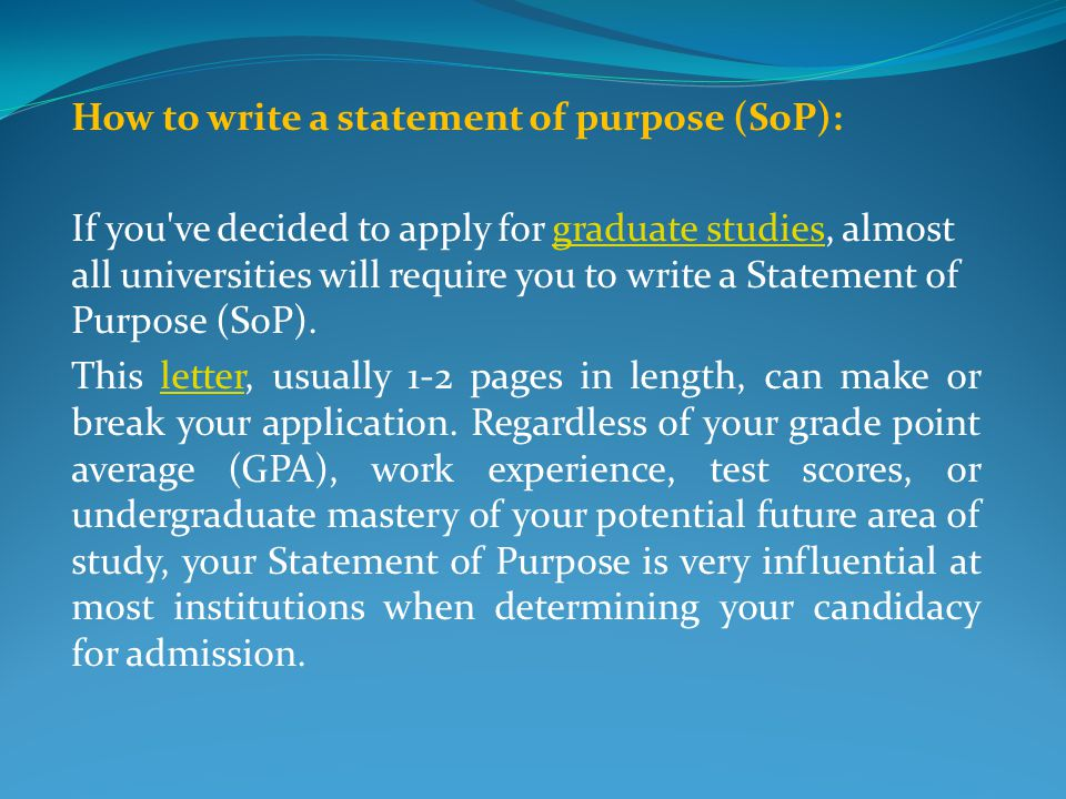 How to write a statement of purpose (SoP):