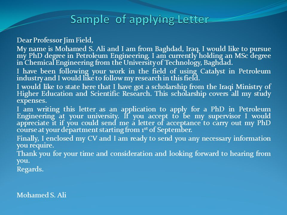 Sample of applying Letter