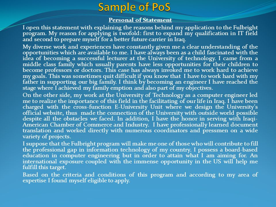 Sample of PoS Personal of Statement