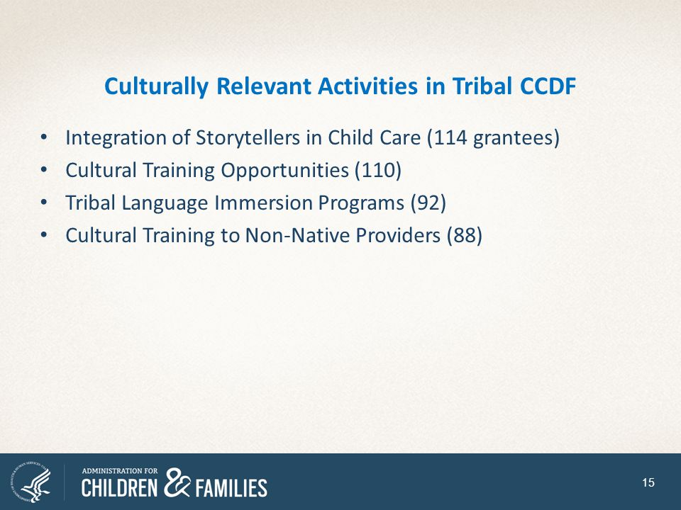 Culturally Relevant Activities in Tribal CCDF