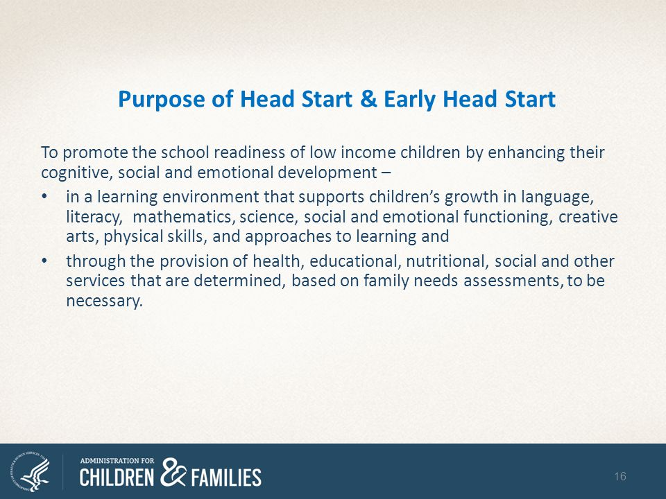Purpose of Head Start & Early Head Start