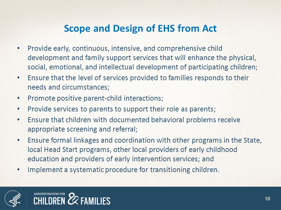Scope and Design of EHS from Act
