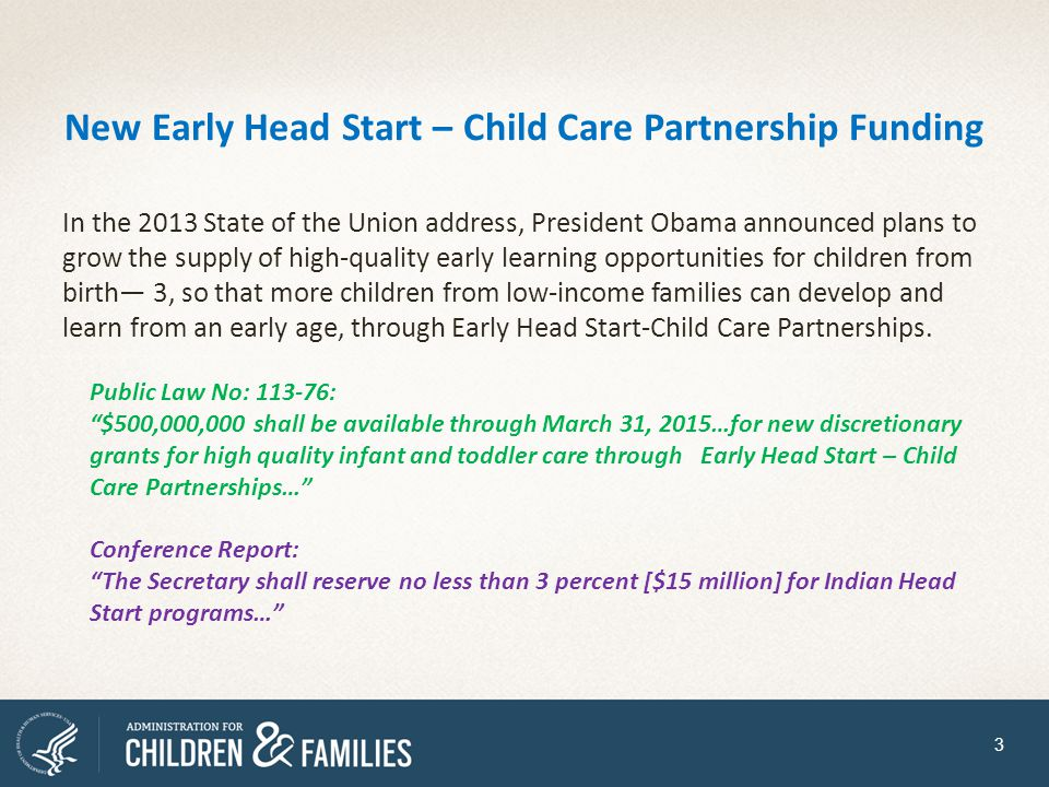 New Early Head Start – Child Care Partnership Funding