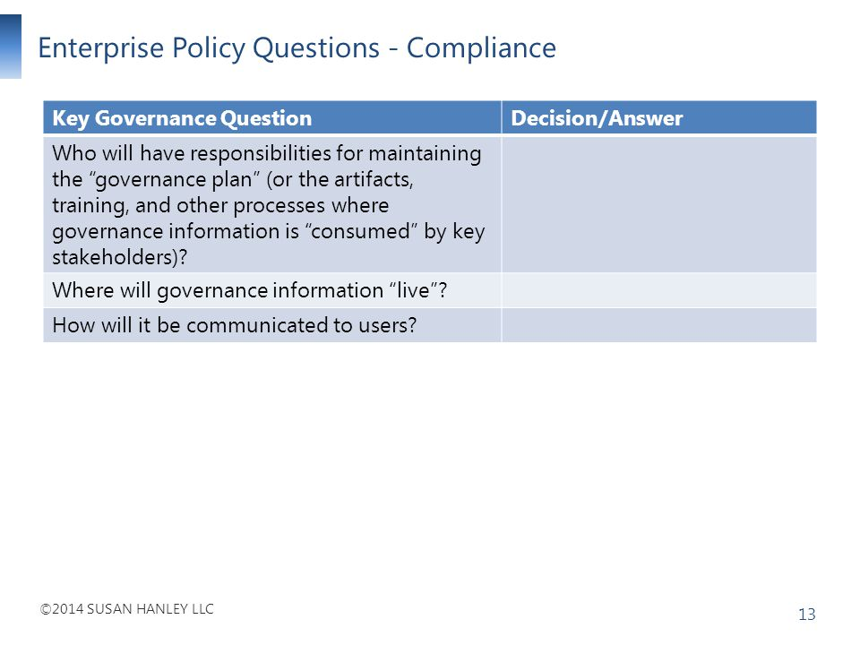 Enterprise Policy Questions - Compliance