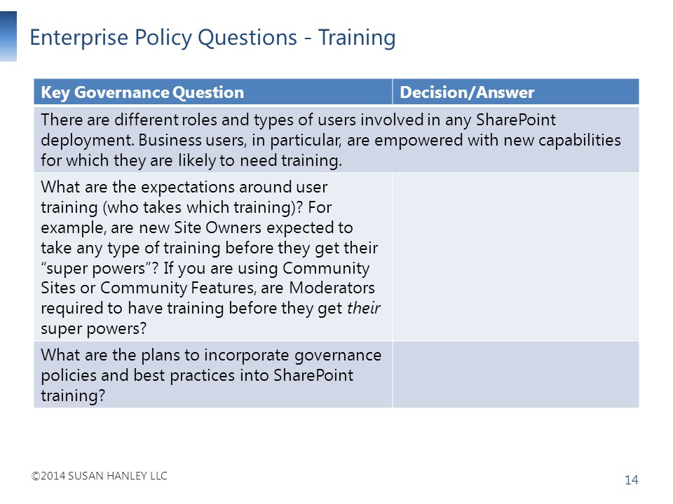 Enterprise Policy Questions - Training