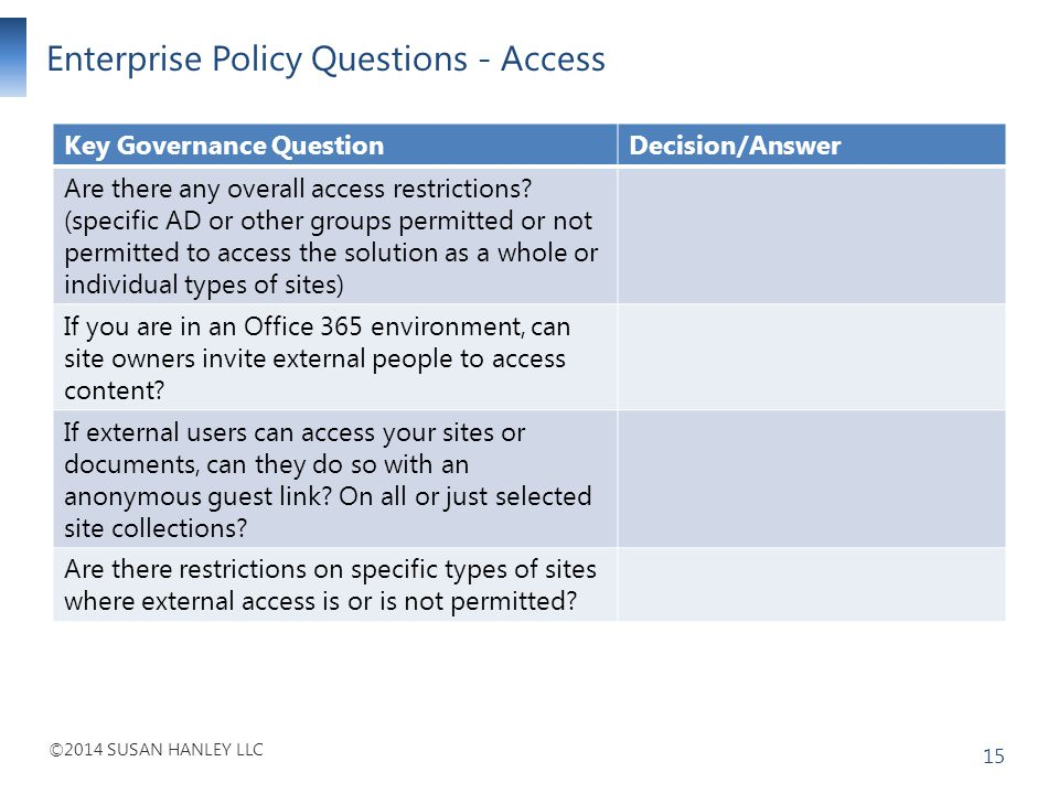 Enterprise Policy Questions - Access