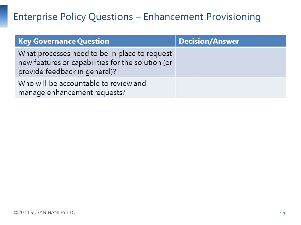 Enterprise Policy Questions – Enhancement Provisioning