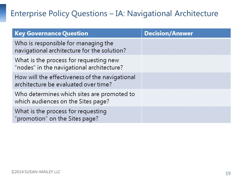 Enterprise Policy Questions – IA: Navigational Architecture