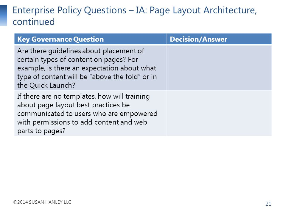 Enterprise Policy Questions – IA: Page Layout Architecture, continued
